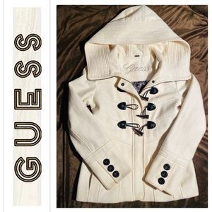 GUESS Ivory Hooded Peacoat sz XS